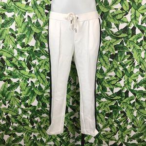 Pam & Gela Pants - Pam & Gela Off White Track Pants with Sport Stripe